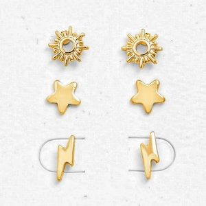Jewelry - Stud Earrings Set Gold Sun Star Lightning Bolt